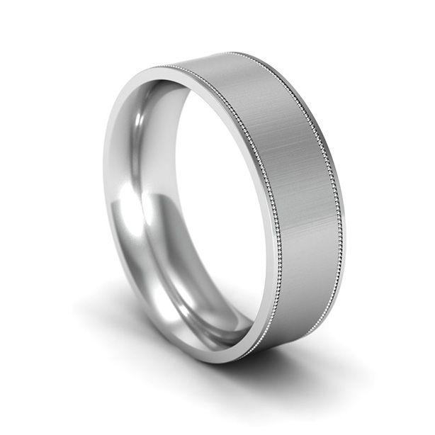 Flat Court Wedding Ring with Milgrain Edges Orla James