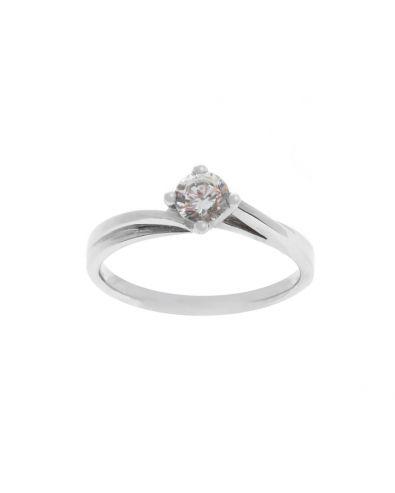 Slight Twist Round Cut Diamond Ring